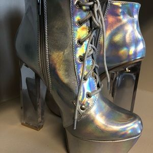 Shoes - Holographic platform Booties